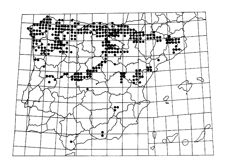Mapa de distribución de la Culebra lisa Europea